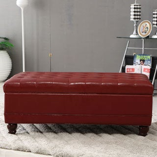 Burgundy Red Waxed Texture Faux Leather Storage Bench Ottoman with Hinge