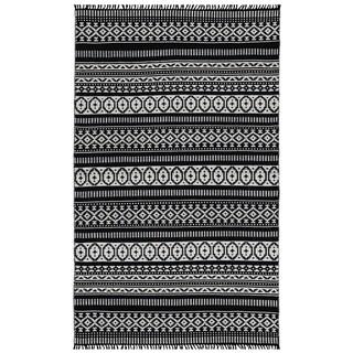 Black Geo Cotton Rug (5'x8') - 5' x 8'