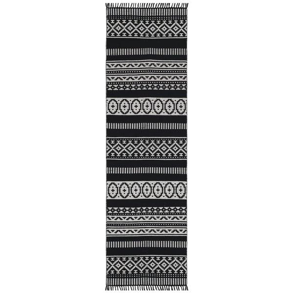 """Black Geo Cotton Runner (2.5'x8') - 2'6"""" x 8'"""