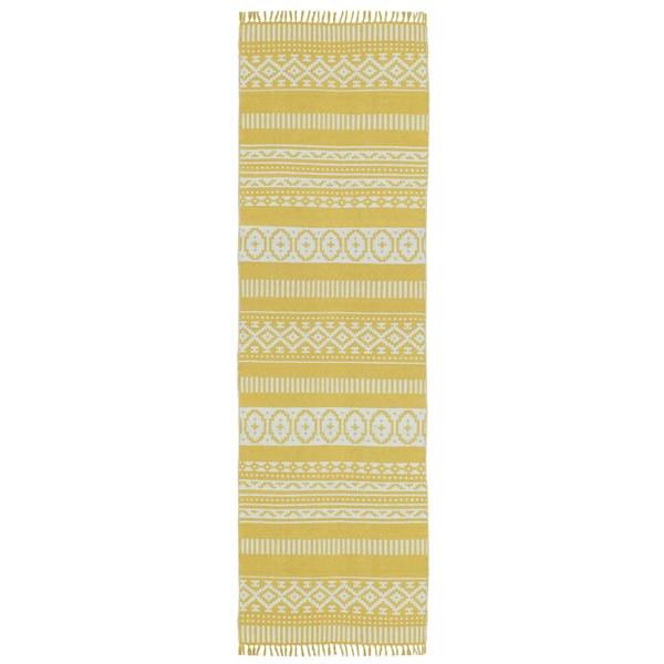 """Yellow Geo Cotton Runner (2.5'x12') - 2'6"""" x 12'"""