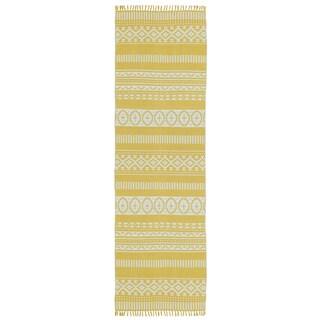 """Yellow Geo Cotton Runner (2.5'x8') - 2'6"""" x 8'"""