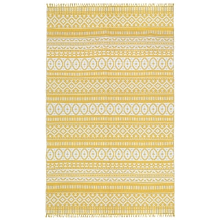 Yellow Geo Cotton Rug (5'x8')