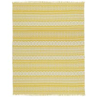 Yellow Geo Cotton Rug (8'x10') - 8' x 10'