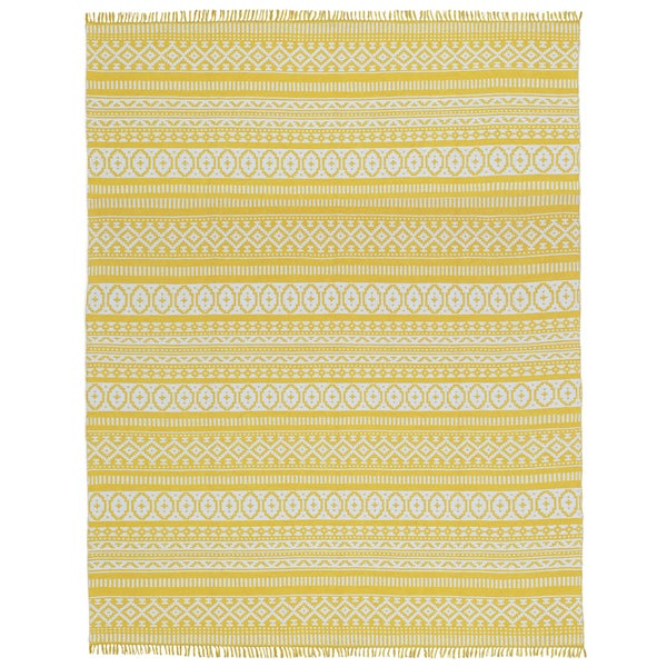 Yellow Geo Cotton Rug (8'x10') - 8' x 10'