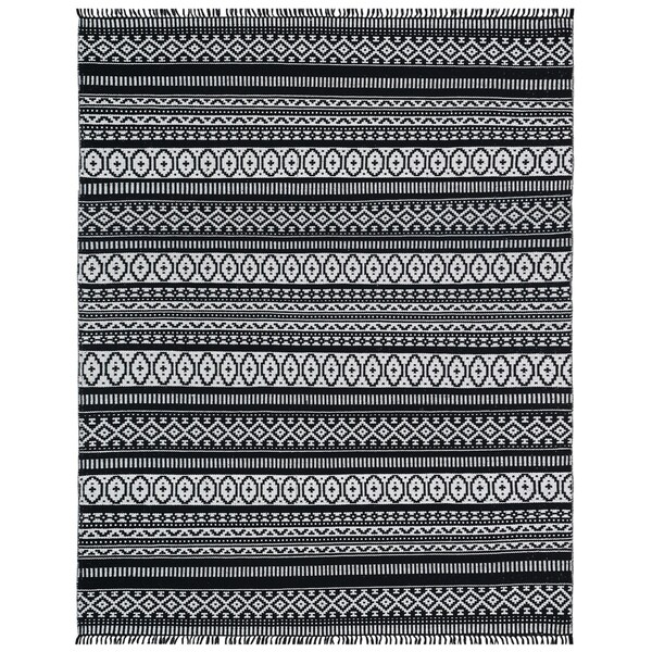 Black Geo Cotton Rug (9'x12') - 9' x 12'