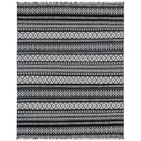 Black Geo Cotton Rug - 9'x12'