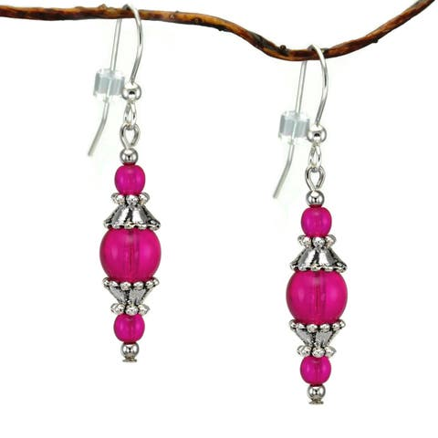 Handmade Jewelry by Dawn Round Hot Pink Glass with Pewter Accents Dangle Earrings (USA)