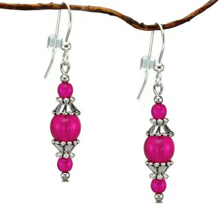 Handmade Jewelry by Dawn Round Hot Pink Glass with Pewter Accents Dangle Earrings