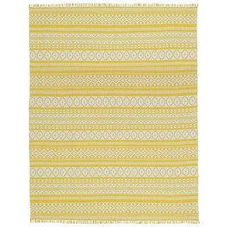 Yellow Geo Cotton Rug (9'x12')