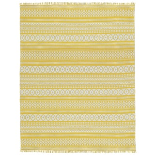 Yellow Geo Cotton Rug (9'x12')|https://ak1.ostkcdn.com/images/products/9987593/P17138314.jpg?impolicy=medium