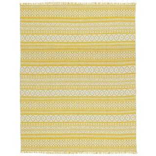 Yellow Geo Cotton Rug (9'x12')