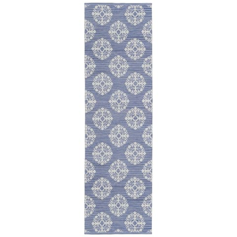 "Blue Medallion Cotton Jacquard Runner (2.5'x12') - 2'6"" x 12'"
