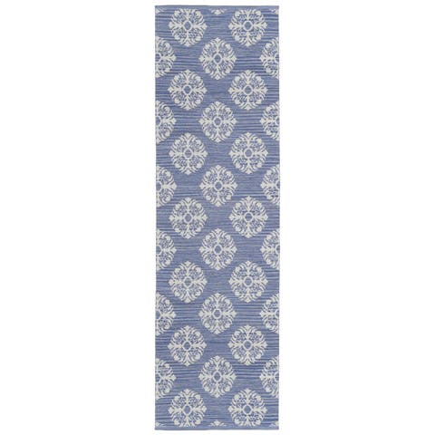 "Blue Medallion Cotton Jacquard Runner (2.5'x8') - 2'6"" x 8'"
