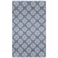 Blue Medallion Cotton Jacquard Rug (4'x6') - 4' x 6'