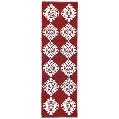 "Red Medallion Cotton Jacquard Runner (2.5'x8') - 2'5"" x 8'"