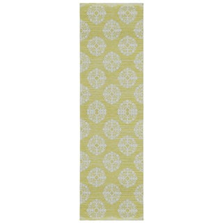 Yellow Medallion Cotton Jacquard Runner (2.5'x12')