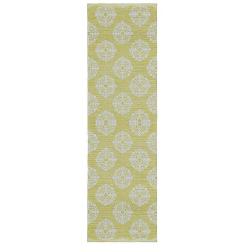 "Yellow Medallion Cotton Jacquard Runner (2.5'x8') - 2'6"" x 8'"