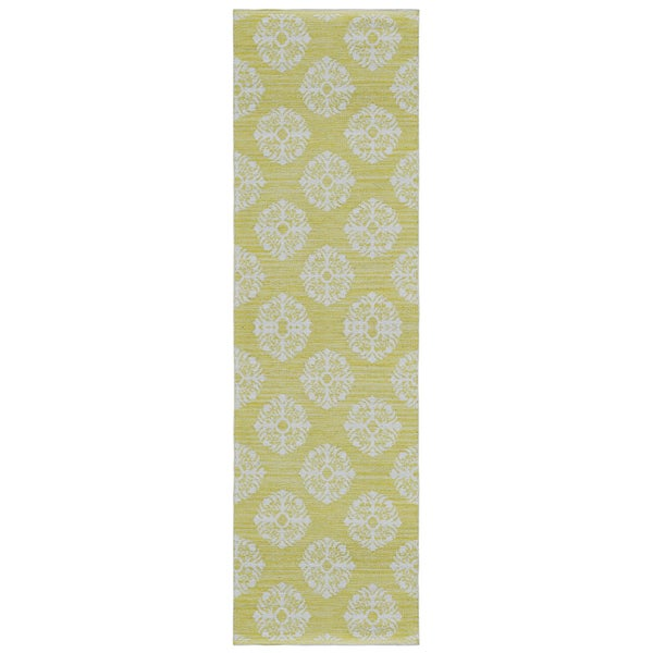Yellow Medallion Cotton Jacquard Runner (2.5'x8')