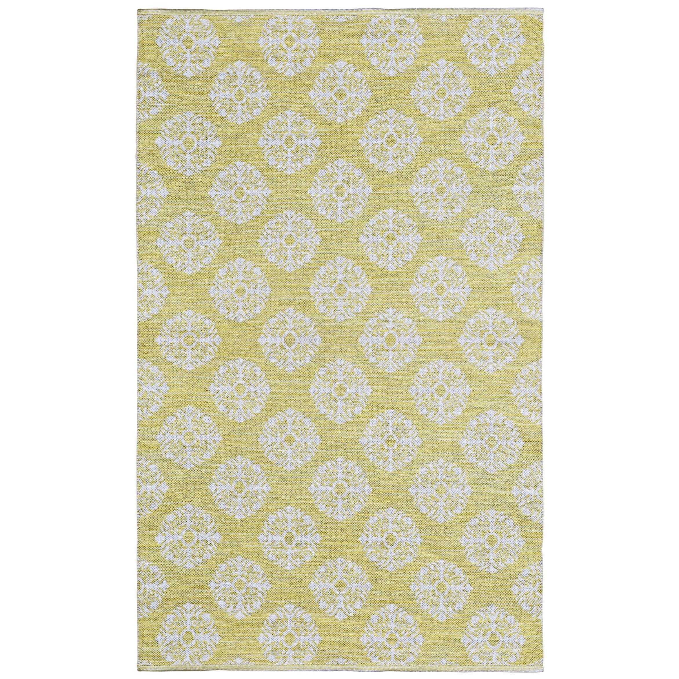 St. Croix Yellow Medallion Cotton Jacquard Rug (4'x6') (Y...