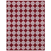 Red Medallion Cotton Jacquard Rug (8'x10') - 8' x 10'