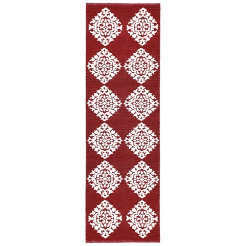 "Red Medallion Cotton Jacquard Runner (2.5'x12') - 2'6"" x 12'"