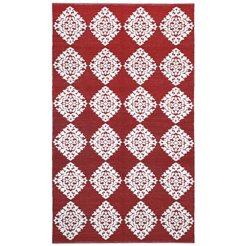 Red Medallion Cotton Jacquard Rug (5'x8') - 5' x 8'