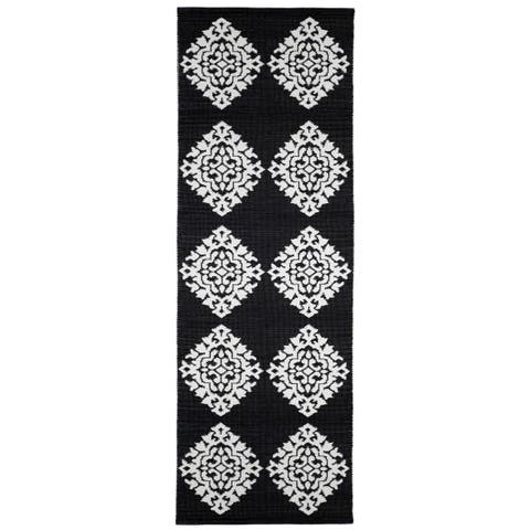 "Black Medallion Cotton Jacquard Runner (2.5'x12') - 2'6"" x 12'"
