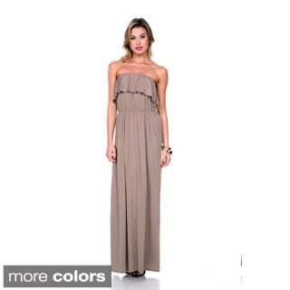 Stanzino Women's Strapless Ruffled Maxi Dress