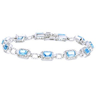 Sterling Silver Emerald-cut Blue Topaz Link Bracelet