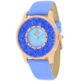 Jivago Women's JV3418 Brillance Round Blue Leather Strap Watch