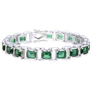 Sterling Silver Emerald-cut Green Topaz Link Bracelet