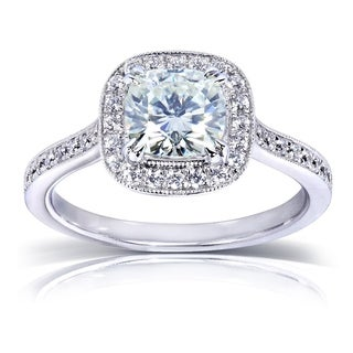 Annello by Kobelli 14k White Gold 1 1/2ct TGW Moissanite (FG) and Diamond (GH) Miligrain Halo Engagement Ring