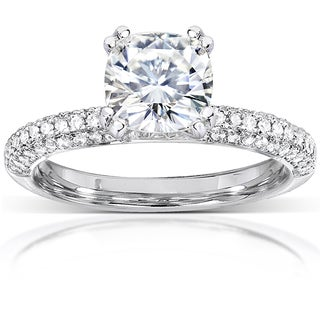 Annello 14k White Gold 2 1/4ct TCW Cushion Moissanite and Micro Pave Diamond Engagement Ring (G-H, I1-I2)