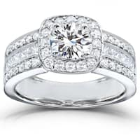 Annello by Kobelli 14k White Gold 2 Carats TGW Mixed-cut Moissanite and Diamond Halo Wide Engagement Ring