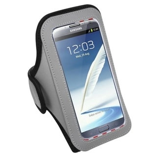 Insten Grey Universal Sport Armband For Apple iPhone 6/ 6+/ HTC One Max/ LG G Pro 2/ G Vista/ Samsung Galaxy Note/ 2/ 3/ 4/ Edge