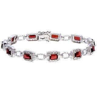 Sterling Silver Emerald-cut Rhodolite Link Bracelet