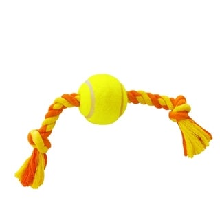 Insten Yellow Tennis Ball Toss Rope Tug & Fetch Pet Dog Toy