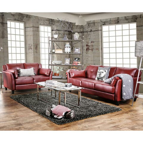Furniture of America Pierson 2-piece Faux Leather Sofa and Loveseat Set