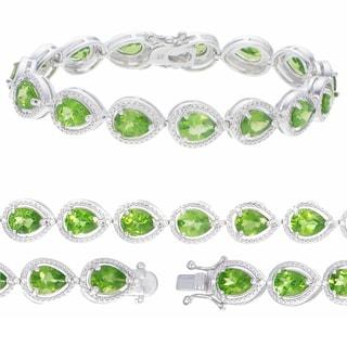 Sterling Silver Pear-cut Peridot Link Bracelet