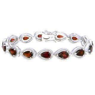 Sterling Silver Pear-cut Garnet Link Bracelet