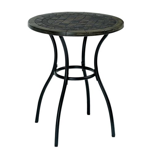 Furniture of America Braum Black Stone Top Bistro Table