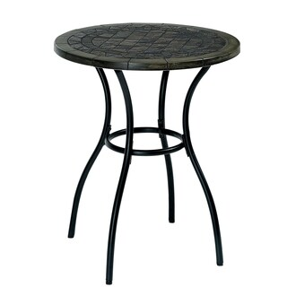 Furniture of America Braum Black Stone Top Bistro Table