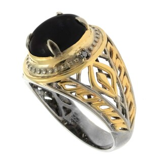 Michael Valitutti Gold over Silver Men's Gemstone and Black Diamond Accent Ring