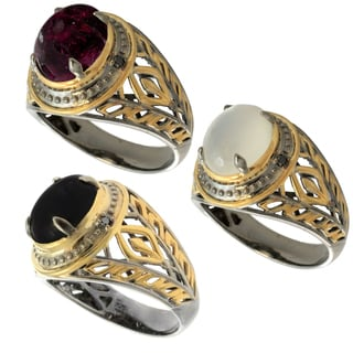 Michael Valitutti Gold over Silver Men's Gemstone and Black Diamond Accent Ring