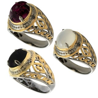 Michael Valitutti Gold over Silver Men's Gemstone and Black Diamond Accent Ring (More options available)