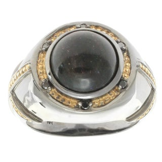 Michael Valitutti Gold over Silver Men's Black Opal Black Diamond Accent Ring