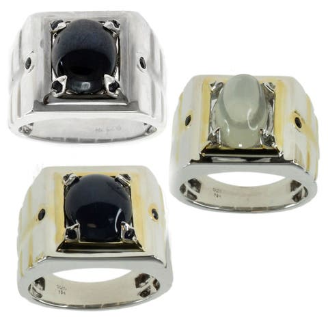 Michael Valitutti Silver Men's Blue Star Sapphire and Blue Sapphire Plated Ring
