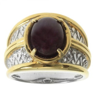 Michael Valitutti Palladium Silver Men's Star Ruby White Topaz Ring