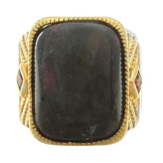 Michael Valitutti Palladium Silver Men's Eudialyte and Garnet Ring