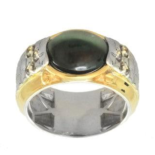 Michael Valitutti Palladium Silver Men's Cat's Eye Siliminite White Topaz Ring